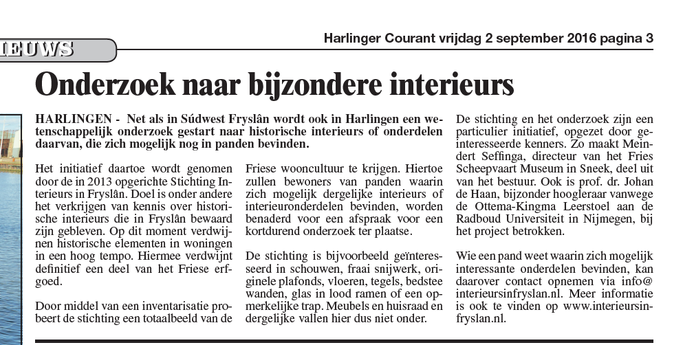 Artikel in HC 2 september 2016 pag1